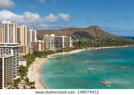 Scenic view of Diamond Head and Waikiki Beach in summer day - stock photo