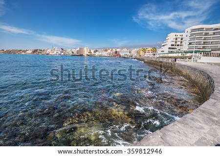 Scenic view of El Medano shoreline, in Tenerife, Canary island, Spain. - stock photo