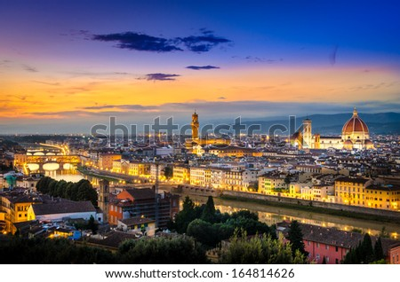 Scenic view of Florence after sunset from Piazzale Michelangelo, Florence, Italy - stock photo