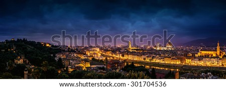 Scenic view of Florence at twilight from Piazzale Michelangelo (Tuscany, Italy) - stock photo