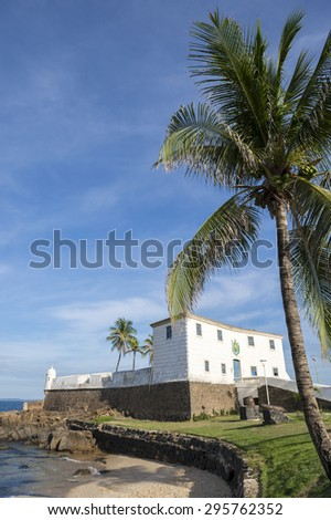 Scenic view of Fort Santa Maria in Barra Salvador Brazil tropical beach and palm trees