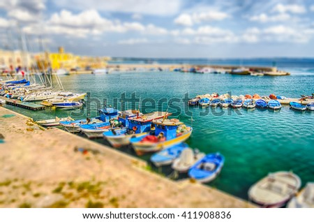 Scenic view of Gallipoli, Salento, Apulia, Italy. Tilt-shift effect applied - stock photo