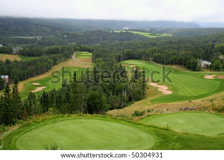 Scenic view of golf course - stock photo