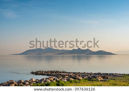 scenic view of great salt lake in the morning ,salt lake city,Utah,usa. - stock photo
