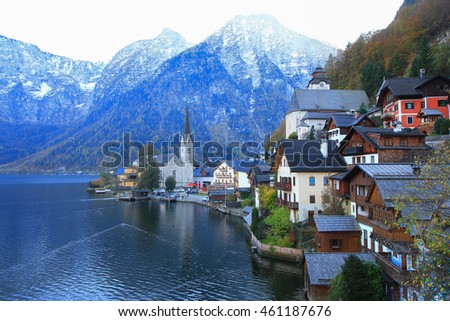 Scenic view of Hallstatt mountain village and alpine lake at the evening in autumn, Austria