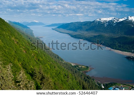 Scenic View of Juneau Bay Inside Passage - stock photo