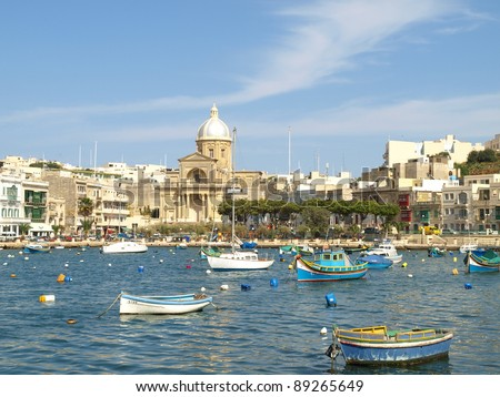 Scenic view of Kalkara Creek marina across the water from Vittoriosa Birgu, The Three Cities, Malta, Europe