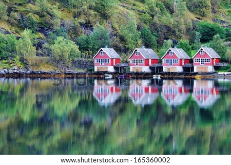 Scenic View of lake and fishing huts in Flam, Norway - stock photo