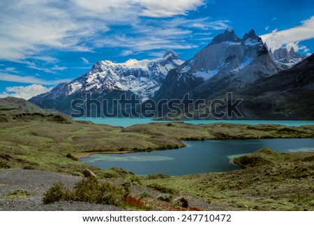 Scenic view of lake in Torres del Paine in south American Andes                    - stock photo