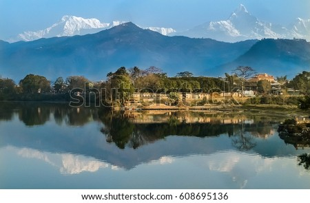 Scenic view of Lake Phewa and Annapurna massif with reflections in the water, Pokhara, Nepal