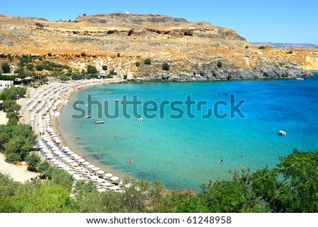 Scenic view of Lindos bay at Rhodes island. Greece