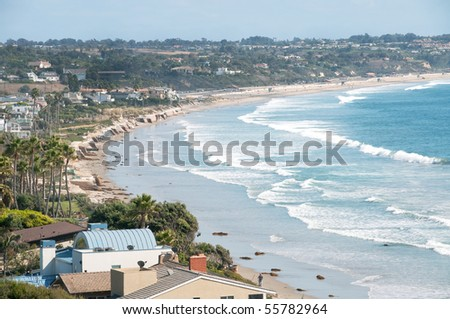 scenic view of Malibu beach and surf - stock photo