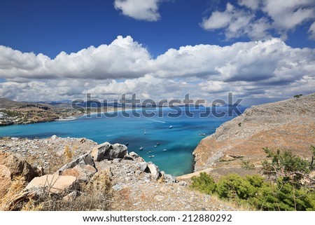 Scenic view of Mediterranean coastline from small town Lindos, Rhodes Island - Greece - stock photo