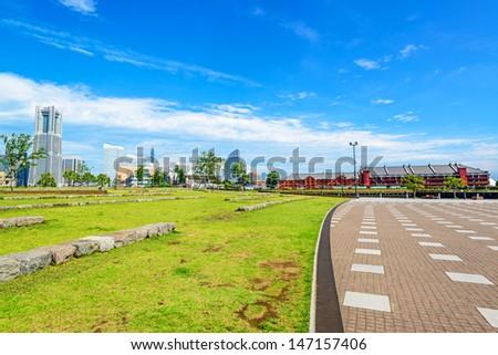 Scenic view of modern city in Yokohama, Kanagawa, Japan viewed from Zo-no-hana park. - stock photo