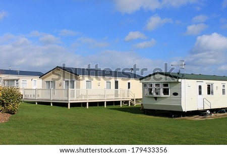 Scenic view of modern trailer of caravan park in summer. - stock photo