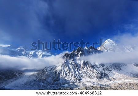 Scenic view of mountains, Kanchenjunga Region, Himalayas, Nepal. - stock photo