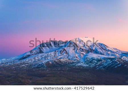scenic view of mt st Helens with snow covered in winter when sunset ,Mount St. Helens National Volcanic Monument,Washington,usa. - stock photo