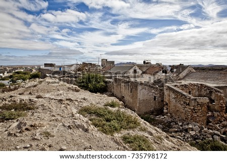 Scenic View of old buildings and villages on Cape Verde in Summer on a sunny day