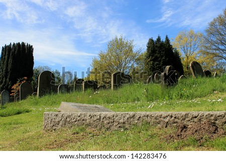 Scenic view of old graves in cemetery, summer scene.
