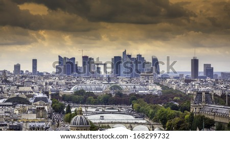 Scenic view of Paris with La Defense as background, France - stock photo