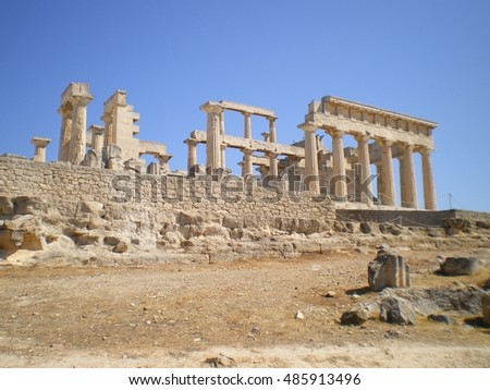 Scenic view of Parthenon , Acropolis, Greece. Classical ancient temple of Aphaea Athina at Aegina island in Greece.