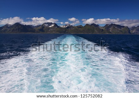 Scenic view of picturesque Lofoten islands in Norway from cruise ship - stock photo