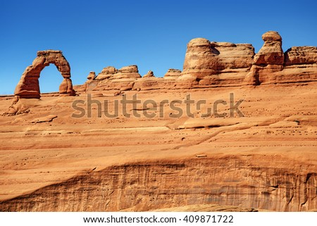 scenic view of rock formations in Arches National Park - stock photo