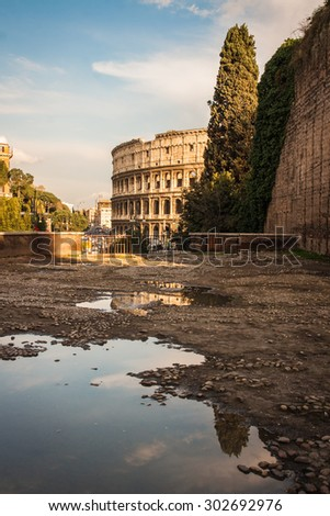 Scenic view of ruins of Colloseum, Rome, Italy