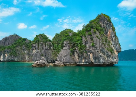 Scenic view of sea and rock islands, Halong Bay, Vietnam, Southeast Asia - stock photo