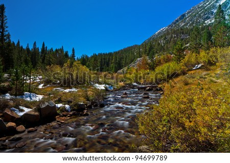 Scenic view of Sierra Nevada Mountain Range fall foliage landscape. - stock photo