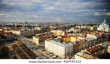 scenic View of St. Petersburg from the roof with dramatic sky