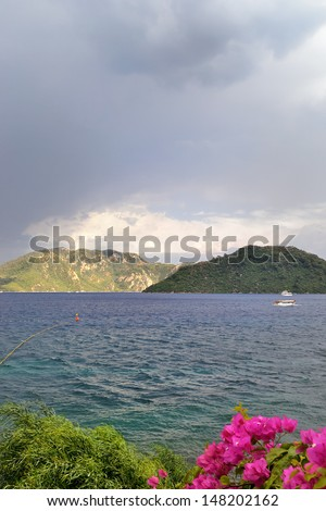 scenic view of stormy clouds, sea and mountains at Marmaris - stock photo