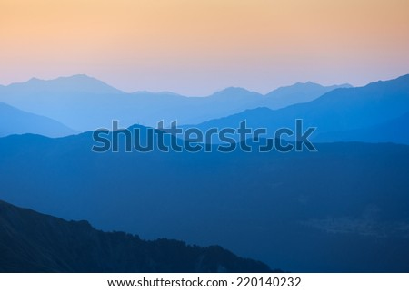 Scenic view of sunset in the mountains