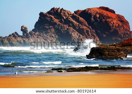 Scenic view of the Atlantic Ocean Coast, Morocco, Africa - stock photo