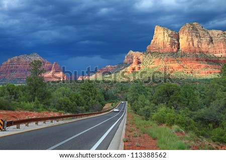 Scenic view of the Bell Rock from the highway near Sedona - stock photo