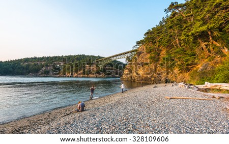 scenic view of the Deception bridge in Deception pass state park area,Washington,USA. - stock photo