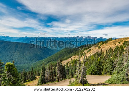 scenic view of the dirt road on  Hurricane Ridge Olympic National Park Washington State,Wa,Usa - stock photo