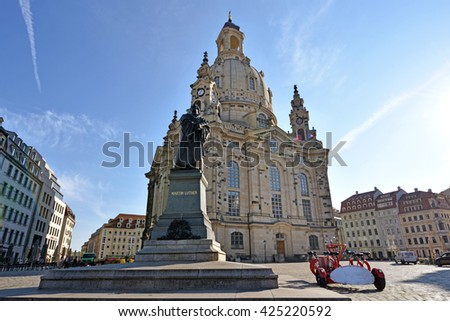 Scenic view of the Frauenkirche in the center of old town in Dresden. Saxony, Germany.