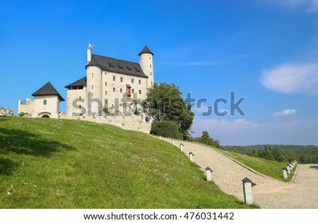 Scenic view of the medieval castle in Bobolice village. Poland.