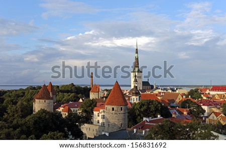 Scenic view of the Old Town in Tallinn, Estonia - stock photo
