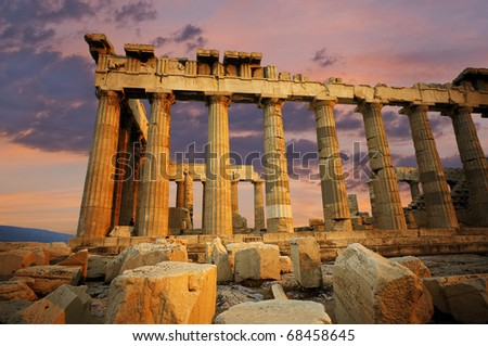 Scenic view of the Parthenon at sunset, located in Athens, Greece - stock photo
