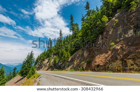 scenic view of the road on the way to  Mount Rainier,WA,USA - stock photo