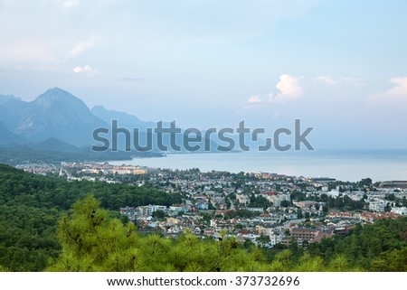 scenic view of the seaside town to the sea and the mountains