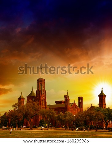 Scenic view of the Smithsonian Castle, landmark on the Mall, Washington DC, United States. - stock photo