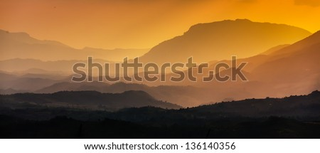 Scenic view of the Sri Lankan mountains in evening time