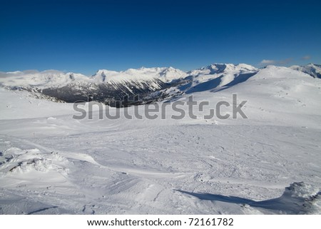 Scenic view of the surrounding mountains viewed from the ridge near the peak of Whistler mountain - stock photo