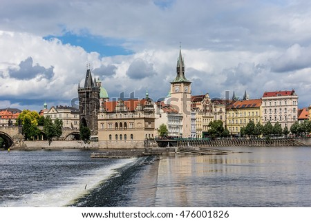 Scenic view of the Vltava embankment in Prague, Czech Republic.