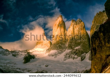 Scenic view of Torres del Paine in south American Andes                    - stock photo
