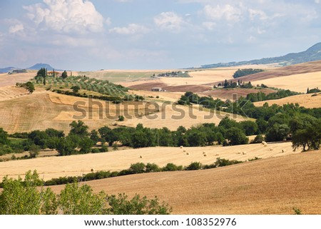 Scenic view of typical Tuscany landscape near Siena, Italy - stock photo