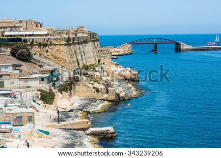 scenic view on coastal part of Valletta city in Malta from high - stock photo